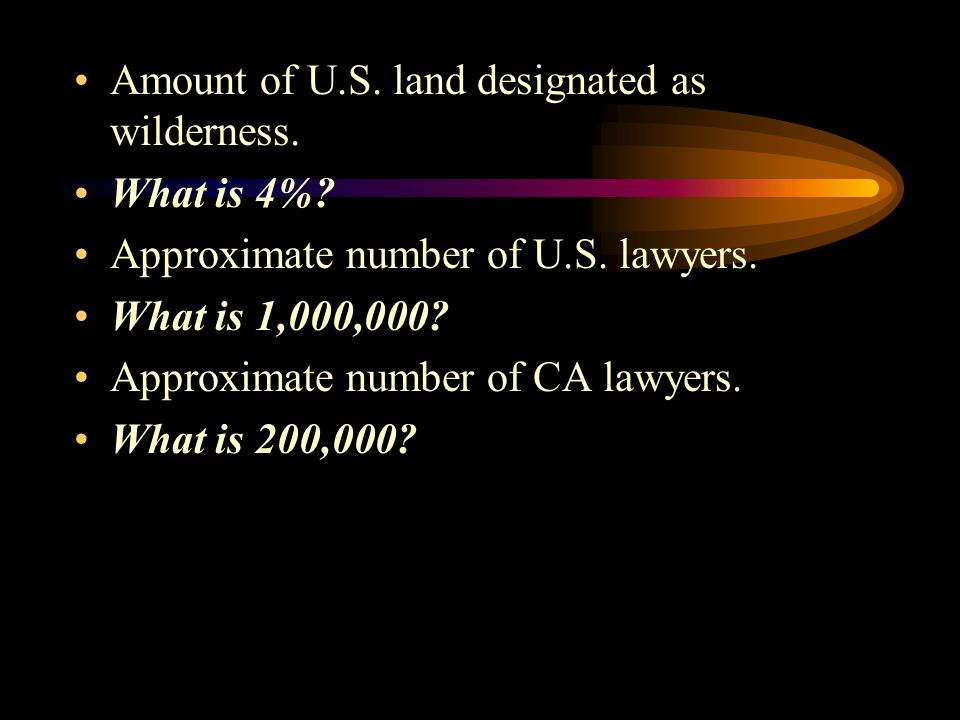 Amount of U.S.land designated as wilderness. What is 4%.