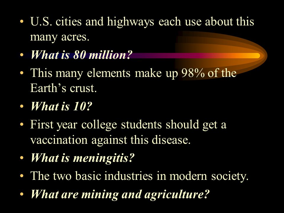 U.S.cities and highways each use about this many acres.