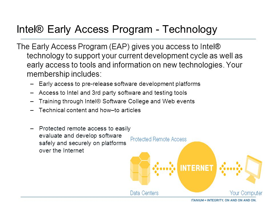 Intel® Early Access Program -Marketing Opportunities and Support Extensive marketing and business development opportunities: –Inclusion in online and print versions of the Intel® Developer Solutions Catalog –Intel quotes to support your PR –Case studies –Access to Intel's event marketing asset kit –Participation in selected industry events and trade shows Support in your development efforts provided through: –Access to an Intel Account Representative who will act as your primary contact –Intel ® Premier Support for confidential technical support –24/7 online support via www.intel.com/software/support www.intel.com/software/support