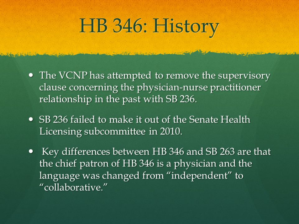 HB 346: Key Supporters The Medical Society of Virginia.