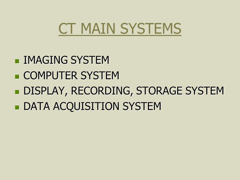 CT SYSTEM GANTRY DETECTORS S/H ADC ARRAY PROCESSOR HOST COMPUTER STORAGE CONSOLE SCAN CONTROLLER DAC GANTRY CONTROL HIGH VOLTAGE GENERATOR X-RAY TUBE