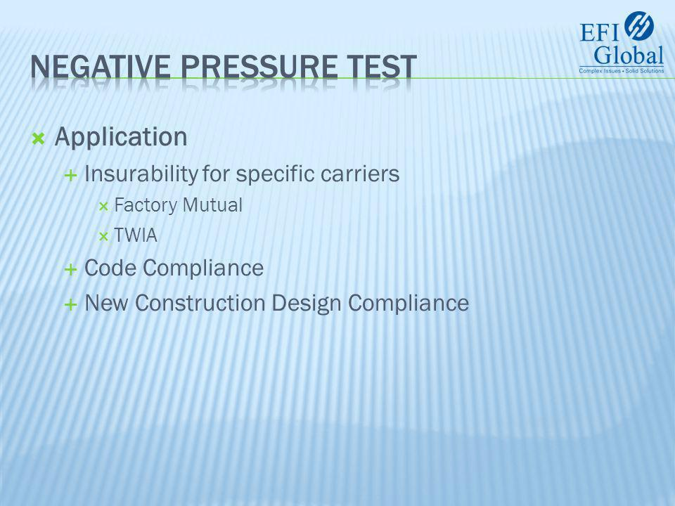  Application  Risk Assessment – as part of the evaluation of a property this test is used to determine probable loss at incremental pressure (Hurricane Strengths).