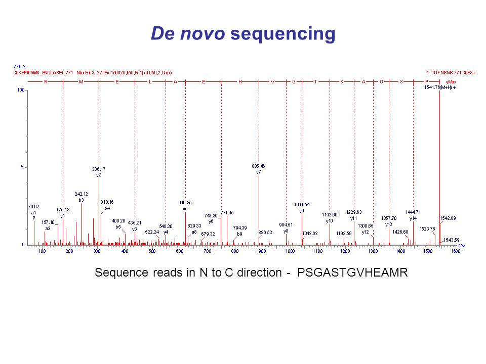 tandem MS / de novo sequences used for database searches for protein identification eg BLAST confirm sequence of engineered mutations, alleles, etc examine modifications – biotinylation, acetylation, oxidation, phosphorylation, glycosylation peptide de novo sequencing
