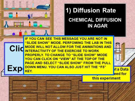 1) Diffusion Rate CHEMICAL DIFFUSION IN AGAR Click Here To Start Experiment #1 Click here to print a Data Table you will need for this experiment IF YOU.