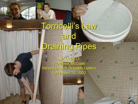 Torricelli's Law and Draining Pipes