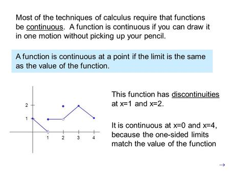 Most of the techniques of calculus require that functions be continuous. A function is continuous if you can draw it in one motion without picking up your.