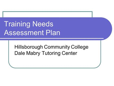 Training Needs Assessment Plan Hillsborough Community College Dale Mabry Tutoring Center.