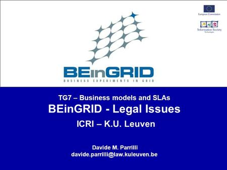 TG7 – Business models and SLAs BEinGRID - Legal Issues ICRI – K.U. Leuven Davide M. Parrilli