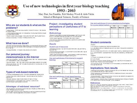 Use of new technologies in first year biology teaching 1993 - 2003 Mary Peat, Sue Franklin, Rob Mackay-Wood & Aida Yalcin School of Biological Sciences,