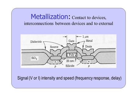 Metallization: Contact to devices, interconnections between devices and to external Signal (V or I) intensity and speed (frequency response, delay)