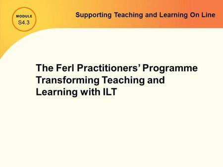 The Ferl Practitioners' Programme Transforming Teaching and Learning with ILT S4.3 Supporting Teaching and Learning On Line.