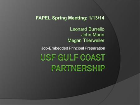 Job-Embedded Principal Preparation. Project Goals  January 2012 - June 2014  Collaboration between USF and 4 partner districts Manatee Pasco Pinellas.