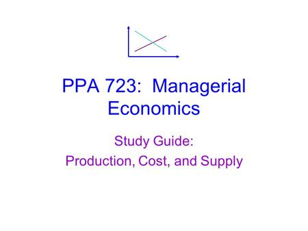 PPA 723: Managerial Economics Study Guide: Production, Cost, and Supply.