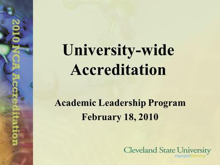 University-wide Accreditation Academic Leadership Program February 18, 2010.