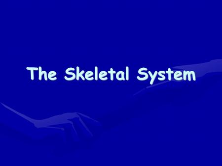 The Skeletal System. What organs comprise the skeletal system?