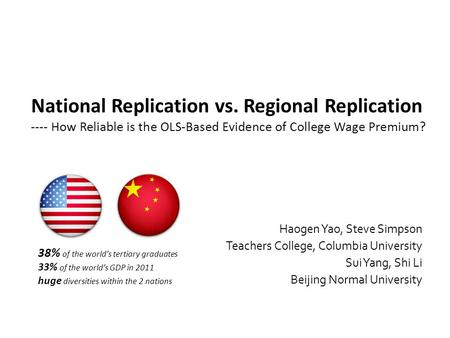 National Replication vs. Regional Replication ---- How Reliable is the OLS-Based Evidence of College Wage Premium? Haogen Yao, Steve Simpson Teachers College,