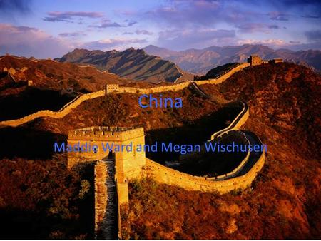 China Maddie Ward and Megan Wischusen. location China is located in East Asia and covers 9.6 million square kilometers. The Republic of China is the third.