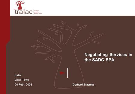 Negotiating Services in the SADC EPA tralac Cape Town 20 Febr. 2008 Gerhard Erasmus.