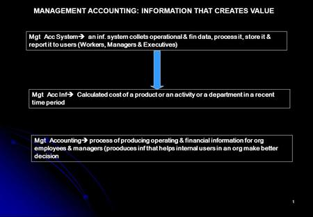 1 MANAGEMENT ACCOUNTING: INFORMATION THAT CREATES VALUE Mgt Acc System  an inf. system collets operational & fin data, process it, store it & report it.