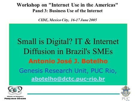 1 Workshop on Internet Use in the Americas Panel 3: Business Use of the Internet CIDE, Mexico City, 16-17 June 2005 Small is Digital? IT & Internet Diffusion.