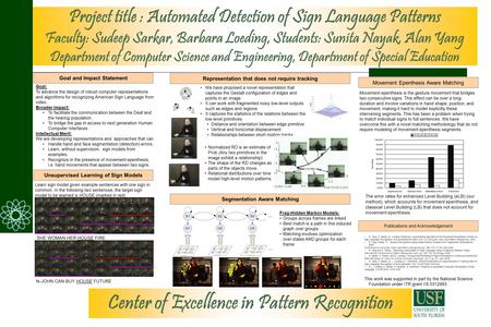 Project title : Automated Detection of Sign Language Patterns Faculty: Sudeep Sarkar, Barbara Loeding, Students: Sunita Nayak, Alan Yang Department of.