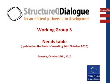 EuropeAid Working Group 3 Needs table (updated on the basis of meeting 14th October 2010) Brussels, October 24th, 2010 1.