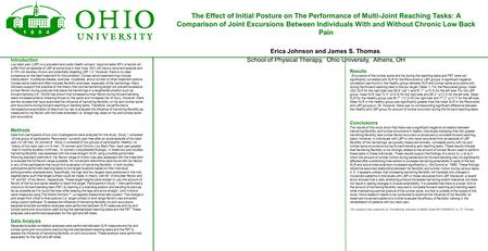 The Effect of Initial Posture on The Performance of Multi-Joint Reaching Tasks: A Comparison of Joint Excursions Between Individuals With and Without Chronic.