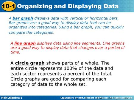 A bar graph displays data with vertical or horizontal bars