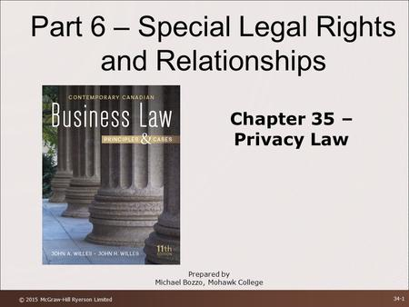 Part 6 – Special Legal Rights and Relationships Chapter 35 – Privacy Law Prepared by Michael Bozzo, Mohawk College © 2015 McGraw-Hill Ryerson Limited 34-1.