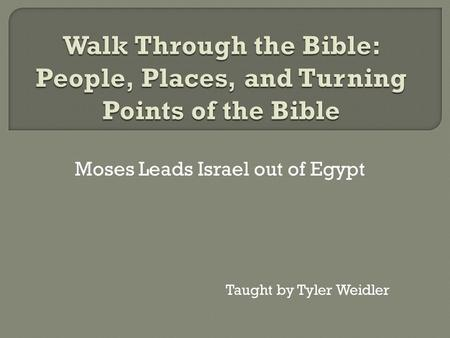 Moses Leads Israel out of Egypt Taught by Tyler Weidler.