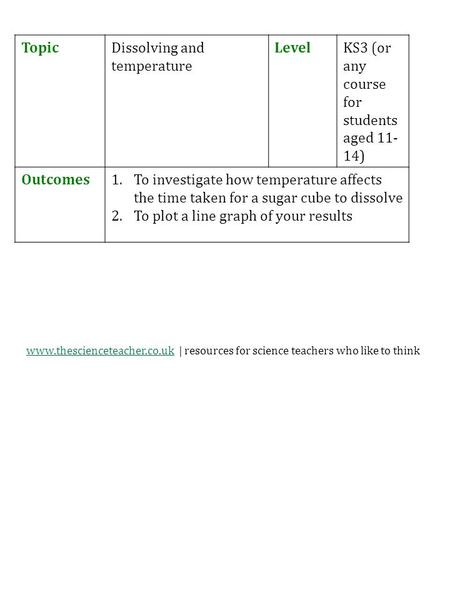 Www.thescienceteacher.co.ukwww.thescienceteacher.co.uk | resources for science teachers who like to think TopicDissolving and temperature LevelKS3 (or.