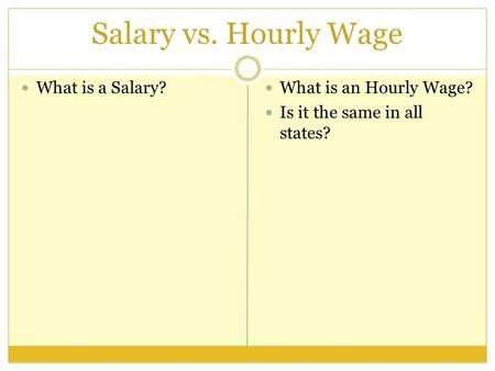 Salary vs. Hourly Wage What is a Salary? What is an Hourly Wage? Is it the same in all states?