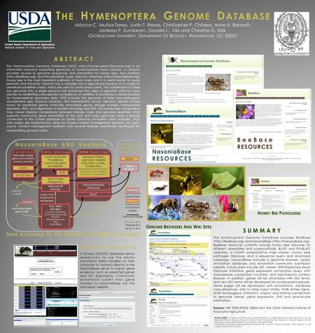 The Hymenoptera Genome Database (HGD,  is an informatics resource supporting genomics of hymenopteran insect species. It currently.