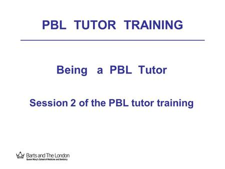 PBL TUTOR TRAINING Being a PBL Tutor Session 2 of the PBL tutor training.