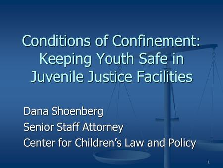 1 Conditions of Confinement: Keeping Youth Safe in Juvenile Justice Facilities Dana Shoenberg Senior Staff Attorney Center for Children's Law and Policy.