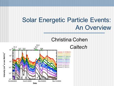 Solar Energetic Particle Events: An Overview Christina Cohen Caltech.