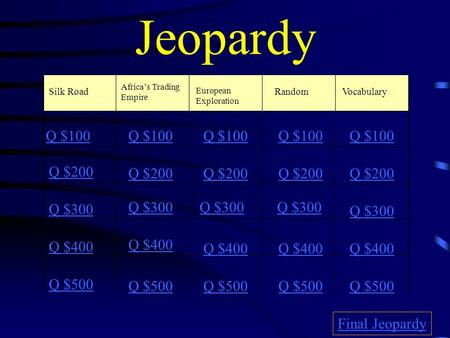 Jeopardy Silk Road Africa's Trading Empire European Exploration RandomVocabulary Q $100 Q $200 Q $300 Q $400 Q $500 Q $100 Q $200 Q $300 Q $400 Q $500.