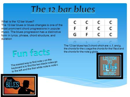 What is the 12 bar blues? The 12-bar blues or blues changes is one of the most prominent chord progressions in popular music. The blues progression has.