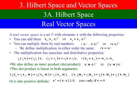 3. Hilbert Space and Vector Spaces