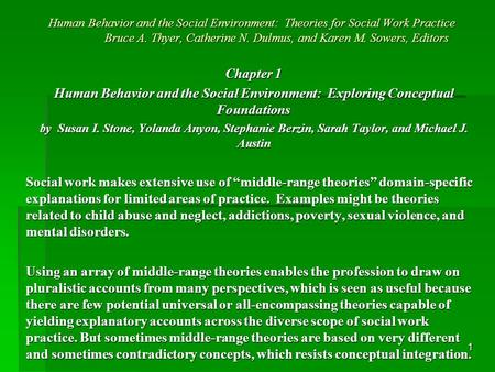 1 Human Behavior and the Social Environment: Theories for Social Work Practice Bruce A. Thyer, Catherine N. Dulmus, and Karen M. Sowers, Editors Chapter.