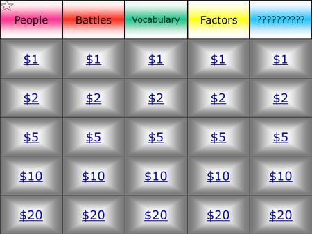$2 $5 $10 $20 $1 $2 $5 $10 $20 $1 $2 $5 $10 $20 $1 $2 $5 $10 $20 $1 $2 $5 $10 $20 $1 PeopleBattles Vocabulary Factors ??????????