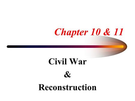 Chapter 10 & 11 Civil War & Reconstruction. THE CIVIL WAR The Union Divides The Real War Begins The Goals of War Change Life Goes on Behind the Lines.
