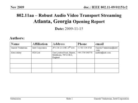 Doc.: IEEE 802.11-09/01151r2 Submission 802.11aa – Robust Audio Video Transport Streaming Atlanta, Georgia Opening Report Date: 2009-11-15 Authors: Nov.
