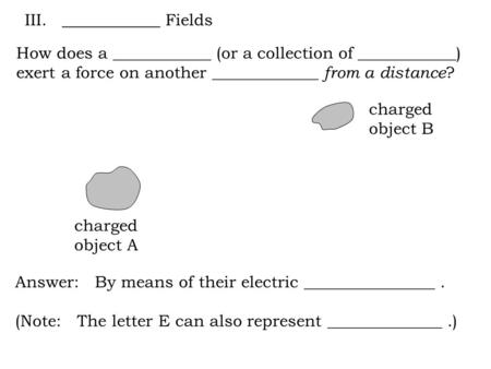 How does a ____________ (or a collection of ____________) exert a force on another _____________ from a distance ? charged object A charged object B Answer: