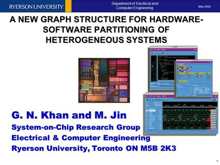 May 2004 Department of Electrical and Computer Engineering 1 ANEW GRAPH STRUCTURE FOR HARDWARE- SOFTWARE PARTITIONING OF HETEROGENEOUS SYSTEMS A NEW GRAPH.