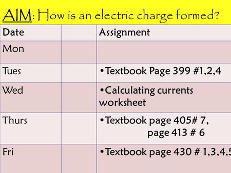 DateAssignment Mon TuesTextbook Page 399 #1,2,4 WedCalculating currents worksheet ThursTextbook page 405# 7, page 413 # 6 FriTextbook page 430 # 1,3,4,5.