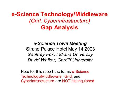 E-Science Technology/Middleware (Grid, Cyberinfrastructure) Gap Analysis e-Science Town Meeting Strand Palace Hotel May 14 2003 Geoffrey Fox, Indiana University.