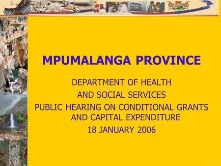 1 MPUMALANGA PROVINCE DEPARTMENT OF HEALTH AND SOCIAL SERVICES PUBLIC HEARING ON CONDITIONAL GRANTS AND CAPITAL EXPENDITURE 18 JANUARY 2006.