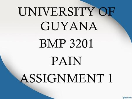 UNIVERSITY OF GUYANA BMP 3201 PAIN ASSIGNMENT 1. GROUP MEMBERS Kamini Reddi Jennifer Haynes Satrupa Singh.