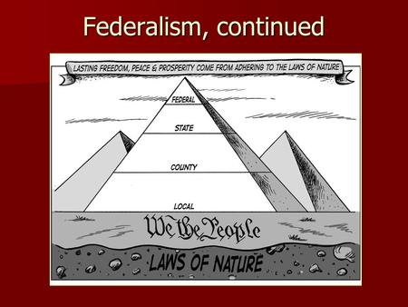Federalism, continued. Dual Federalism – Definition: a system of government in which both the states and the national government remain supreme within.